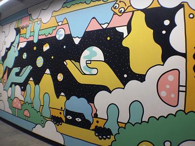 Amazon 9th & Thomas Mural hallway walls space dreams mural
