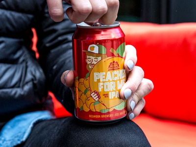 Redhook Peaches for Me IPA Cans vector seattle illustration beer art beer can design peaches beer can beer