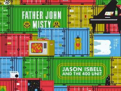 Father John Misty & Jason Isbell and The 400 Unit jason isbell father john misty screenprint gigposter poster design poster