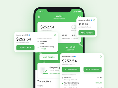 iOS 14 Widgets - Digital Wallet + Instant Pay app mobile finance fintech ios ios14 widgets apple banking branch