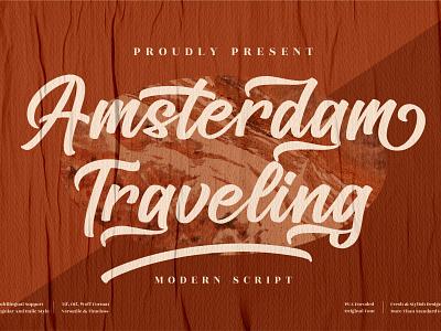 Amsterdam Traveling - Modern Calligraphy Font motion graphics graphic design 3d animation ux vector ui typography logo illustration icon design branding app