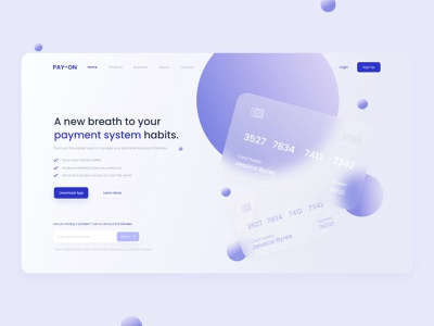 PAY-ON / Finance Website UI/UX Design landing page colorful art app modern uı design typography clean minimal design branding concept branding ux uı website concept website design website