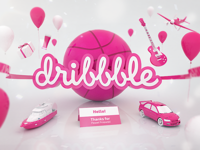 Hello! Dribbbler :) dribbbler welcome ball 3d artwork thanks invitation debut first shot dribbble hello