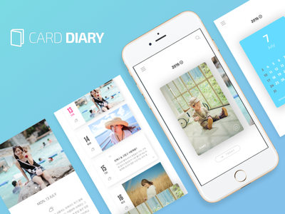 Card Diary concept iphone mobile app ios design clean memories diary card