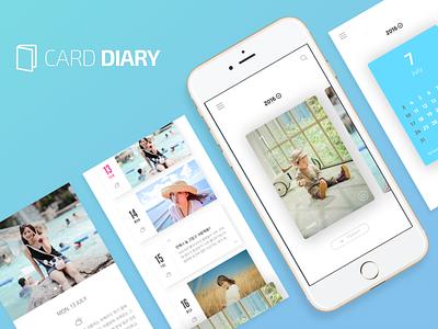 Card Diary concept iphone mobile app ios design clean memories diary card
