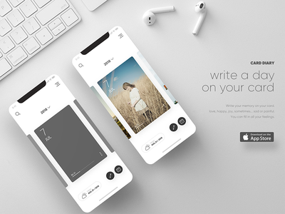 Card Diary - iOS App card diary card ui memo note mockup ux ui app journal ios diary card