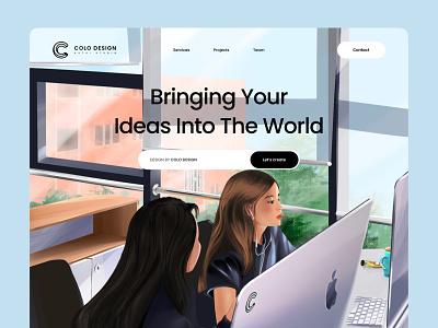 Office Life-Landing Page search bar concept header design illustrations digital illustration artist digitalart team web designer landing page branding web design illustrator mongolia illustration art illustration