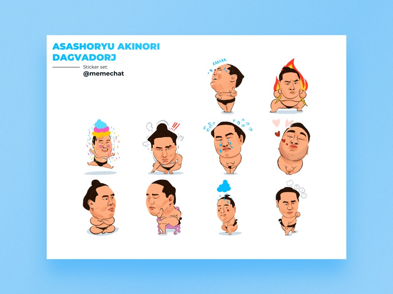Sumo Sticker illustration art design sticker set app content chat app asashoryu dagvadorj stickerset digitalartwork asashoryu sticker design sticker sumo sumowrestler
