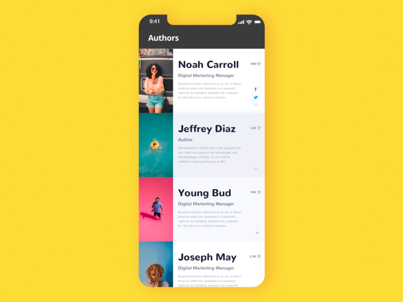 layout of list colorful interface share button share like description title sequence profile mobile app design mobile ui list list view listing ui list authors mobile ui  ux uidesign ui lists