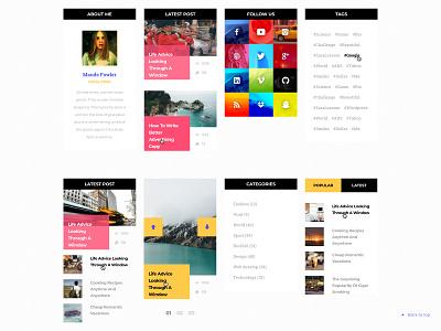 Web widgets user interface ux ui website design colorful simple blog news post tags slider social icons categories list web design side menu web widgets widget sidebar