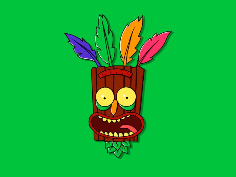 Aku Aku + Rick and Morty art adobedraw aku aku rick and morty ilustracion