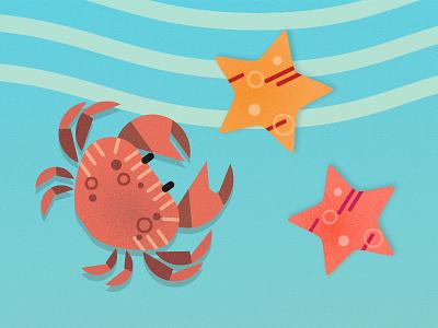 Crab & Starfish game sea background graphic ui illustration starfish crab