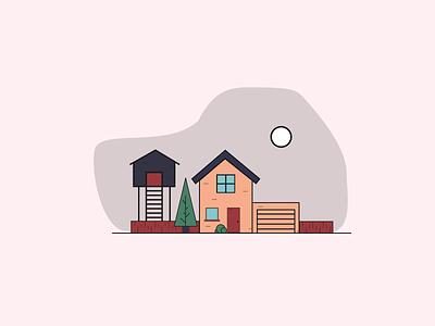 House Illustration illustration colorful visual design ui design