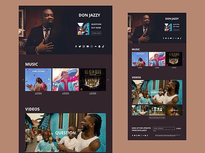 Don Jazzy Landing Page producer landing page visual design ui design