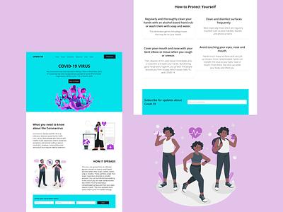 Covid-19 Landing page landing page design colorful visual design ui design