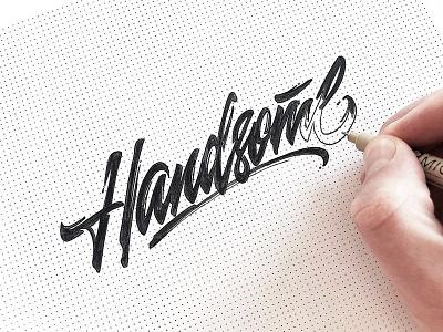 Handsome sketch process logotype sketch lettering