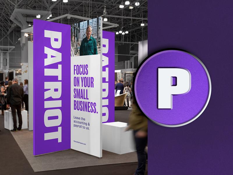Patriot - Big and Small focus lab enamel pin logotype wordmark tradeshow payroll accounting software patriot