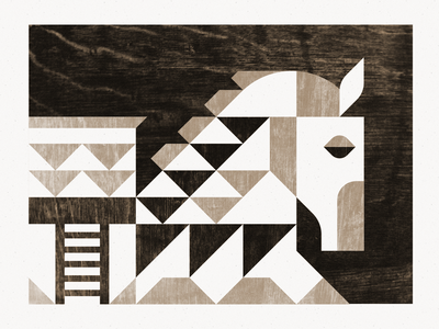Gift Horse texture ben stafford steed gift greek trojan trojan horse horse geometric illustration course college printmaking