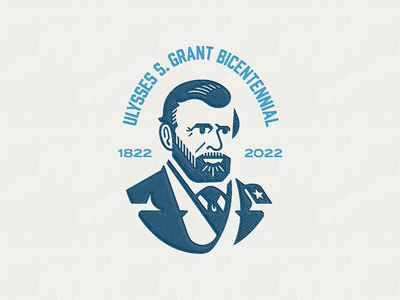 U.S. Grant Logo geometric bicentennial war civil war general major president portrait logo ulysses s. grant