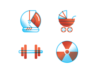 Indestructible Icons  cockroach astronaut helmet baby carriage barbell radioactive icons illustration magazine editorial