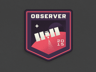 Pluto Expeditions - Observer space pluto expedition observer mission patch exploration satellite illustration texture nasa new horizons fonts.com