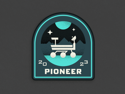 Pluto Expeditions - Pioneer illustration rover nasa space pluto expedition pioneer mission patch exploration new horizons fonts.com texture