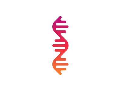 Deoxyribonucleic acid gradient icon biology genetics molecule health medicine technology science dna logo illustration