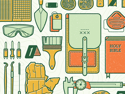Tools of the Trade illustration editorial archaeology evidence truth tools equipment bible artifacts dig knolling archeology