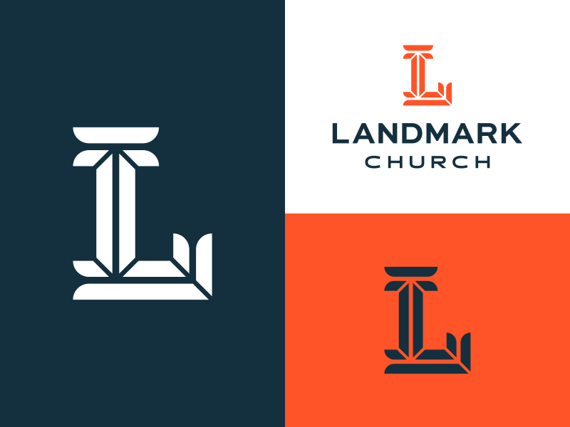 Landmark beveled letter l mark logo church landmark