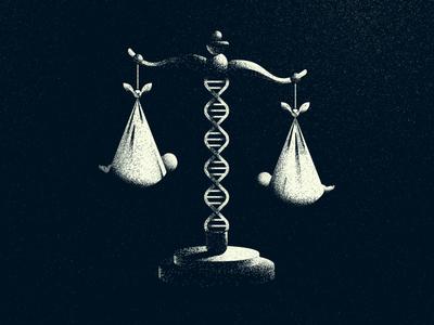 Gene Editing & Designer Babies crispr science vector textures babies genes editorial morals scales justice illustration dna