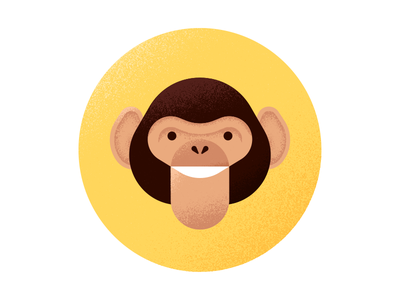 Planet of the Shapes simple editorial vector texture illustration ape primate chimpanzee chimp