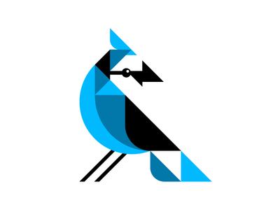 C100 Jay cyanocitta cristata shapes illustration geometric cyan bluejay blue jay bird ben stafford