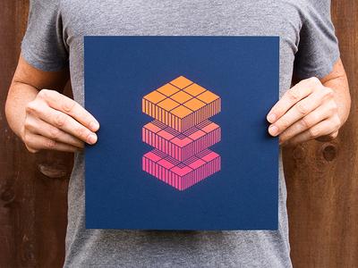 Art & Artifact - Rubik's Cube Print neon 80s split fountain rubiks cube surprise subscription box illustration curated ben stafford art and artifact