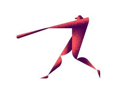 Home Run Derby  player sports bat vector textures geometric swing home run batter baseball illustration