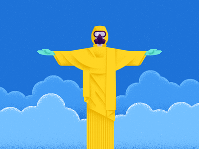 Trouble in Paradise espn illustration bacteria zika christ the redeemer statue gas mask olympics rio toxic hazmat suit cristo redentor