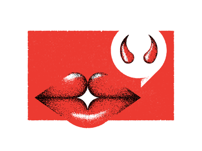 Speak Of The Devil word bubble quotes idiom speak horns editorial illustration vector textures talk lips devil