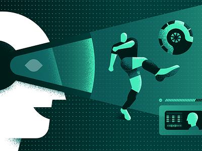ESPN: The Future of Football sports virtual reality future futuristic headset vr illustration futbol soccer football espn