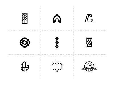 Logo Marks - Vol.1: Black on White ben stafford logo collection community tree publishing hand z dna church logo icon mark logo