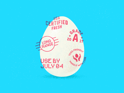 Handle With Care type illustration vector textures independence day july 4th organic fresh american usa stamps egg egg toss