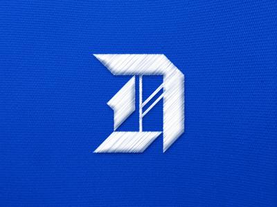 Diamond in the Rough custom sports monogram logo geometric embroidery embroidered capital d blackletter baseball