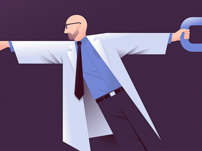 The Missing Link reach chain link magazine ben stafford scientist lab coat editorial illustration answers in genesis