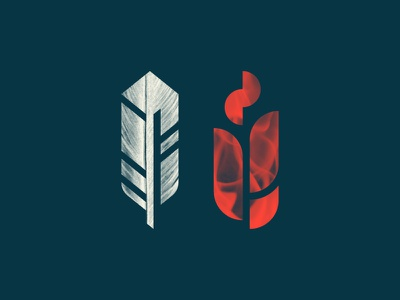 Feather + Flame simple fire icon illustration geometric flame feather