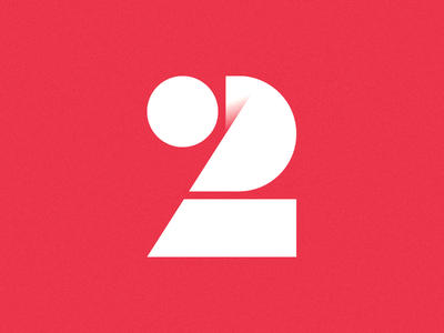 Two for 2 shapes simple geometric logo illustration number two 2