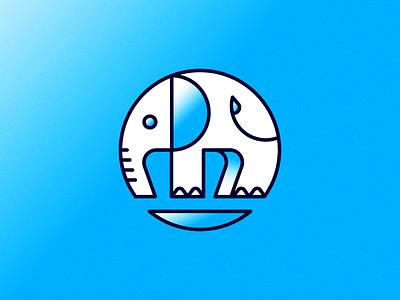 Tiny baby safari circular animal trunk illustration circle elephant
