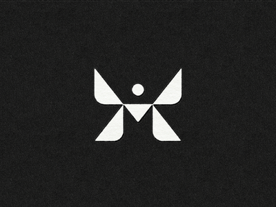 'M'oth mark geometric simple logo butterfly wings insect moth letter m m