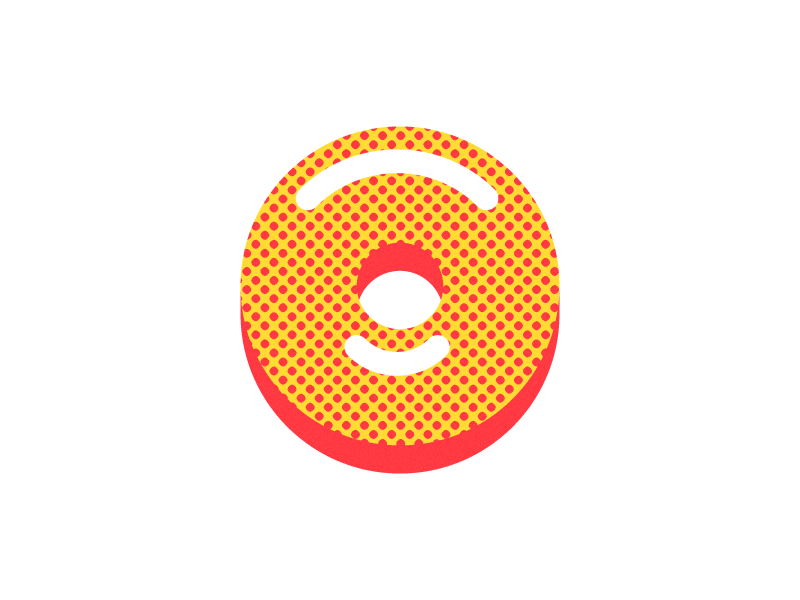 Doughnut v.1 halftone shine glaze glazed optical illusion illustration donut doughnut happy