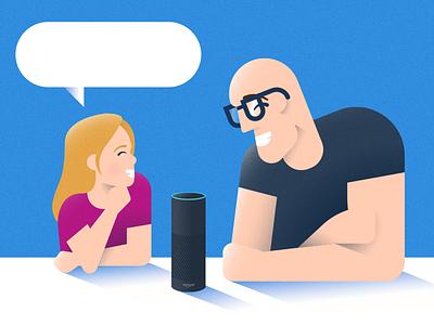 """Alexa, upload my Dribbble shot."" daughter father speaker alexa amazon illustration voice experience chat"