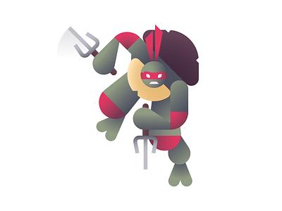 Cool But Rude cowabunga ben stafford raphael teenage mutant ninja turtles tmnt geometric illustration