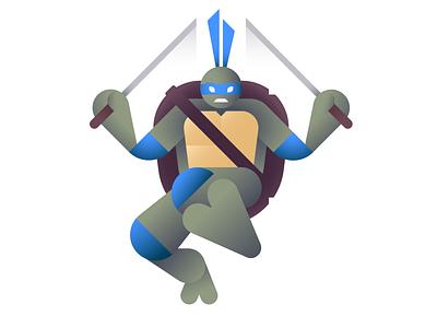 Leads cowabunga leonardo leo tmnt ninja ooze teenage mutant ninja turtles ben stafford illustration geometric