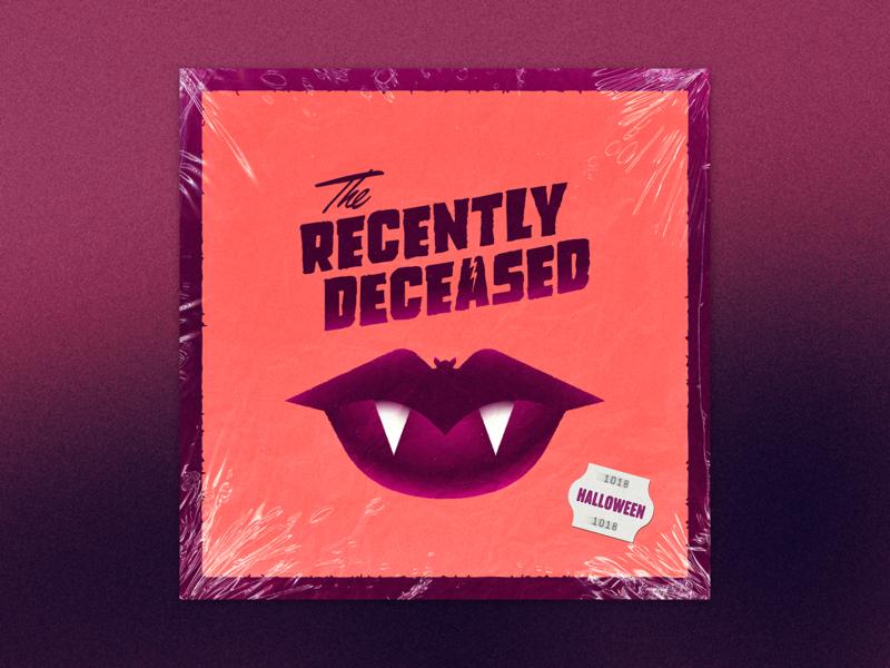 The Recently Deceased - Album Cover haunted garage rock 60s vinyl design werewolf bar mitzvah bat vampire lips illustration spooky halloween music album cover the recently deceased